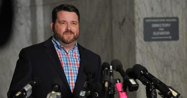 Troy Price Chairman of the Iowa Democratic Party, addresses the media about the aftermath of the Iowa caucuses on February 7, 2020 in Des Moines, Iowa.