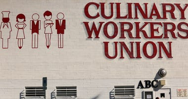 A member enters the building of Culinary Workers Union, Local 226, February 13, 2020 in Las Vegas, Nevada.