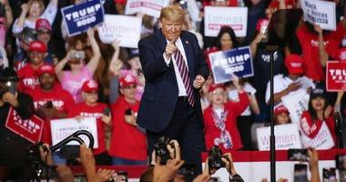 US President Donald Trump points to the crowd at a campaign rally at Las Vegas Convention Center on February 21, 2020 in Las Vegas, Nevada.