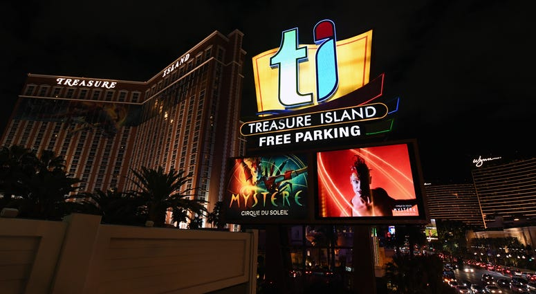 "The marquee at the Treasure Island Hotel & Casino shows advertisements for the ""Mystere by Cirque du Soleil"" show as the coronavirus continues to spread across the United States on March 14, 2020 in Las Vegas, Nevada."