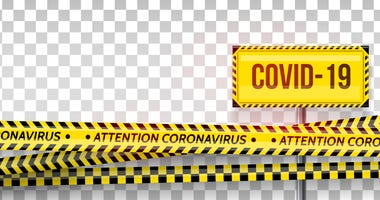 Pandemic stop. Coronavirus covid-19 2019-nCoV. Black and yellow stripes set. Warning tapes. Danger. Quarantine biohazard sign. Caution ,Warning or stop corona virus concept.