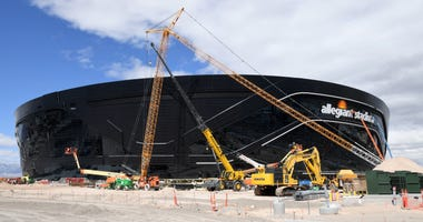 Construction continues at Allegiant Stadium, the USD 2 billion, glass-domed future home of the Las Vegas Raiders