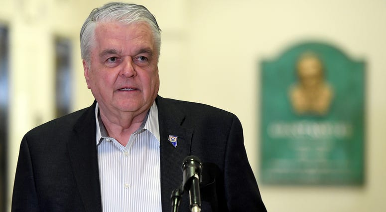 Nevada Gov. Steve Sisolak speaks during a news conference on the state's response to the coronavirus outbreak at the Grant Sawyer State Office Building on March 17, 2020
