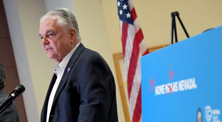 Nevada Gov. Steve Sisolak speaks during a news conference on the state's response to the coronavirus outbreak at the Grant Sawyer State Office Building on March 17, 2020 in Las Vegas, Nevada