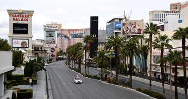 Scenes of an empty Las Vegas Strip