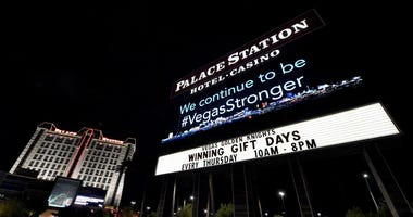 The marquee at the Palace Station Hotel & Casino displays a message after the resort closed as a result of the coronavirus continuing to spread across the United States on March 18, 2020 in Las Vegas, Nevada.