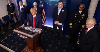 U.S. President Donald Trump speaks at the daily coronavirus briefing