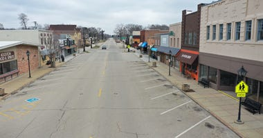 A normally busy Main Street is deserted as the small businesses that line the business district remain closed after the governor instituted a shelter-in-place order in an attempt to curtail the spread of the coronavirus (COVID-19) on March 24, 2020 in Roc