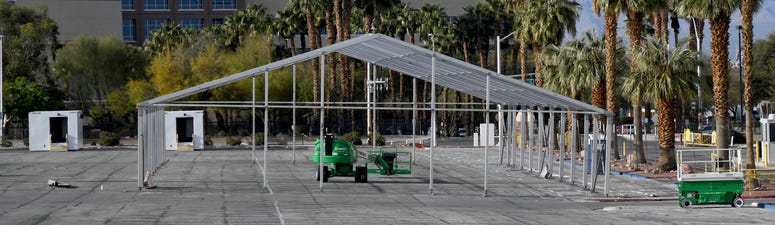 Scaffolding for the new Cashman ISO-Q (Isolation-Quarantine) Complex for the homeless, under construction as a result of the coronavirus pandemic, is shown at Cashman Center on March 31, 2020 in Las Vegas, Nevada.