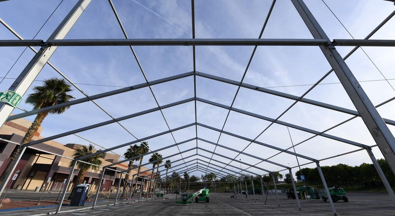 Scaffolding for the new Cashman ISO-Q (Isolation-Quarantine) Complex for the homeless, under construction as a result of the coronavirus pandemic, is shown at Cashman Center on March 31, 2020