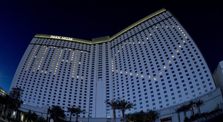 This image was shot with a fisheye lens.) An exterior view shows guest rooms at the shuttered Park MGM on the Las Vegas Strip