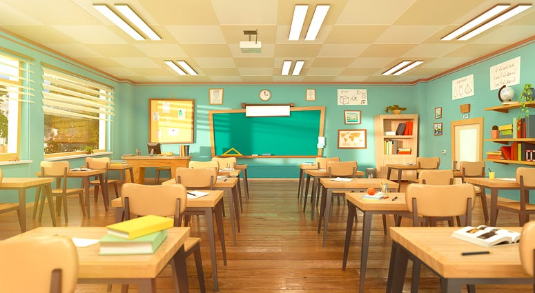 Empty school classroom in cartoon style. Education concept without students.