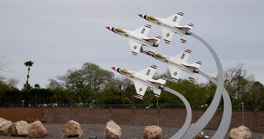 A sculpture of the U.S. Air Force Air Demonstration Squadron Thunderbirds at the main gate of Nellis Air Force Base is shown on April 3, 2020 in Las Vegas, Nevada.