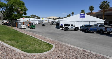 Work continues at the joint Clark County-City of Las Vegas ISO-Q (Isolation and Quarantine) Complex for the homeless that was constructed in the parking lot at Cashman Center in response to the coronavirus pandemic on April 13, 2020