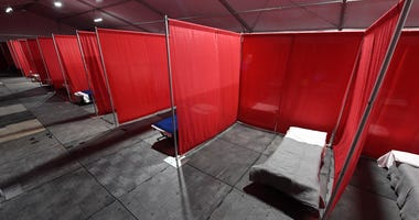 Cots are set up in a quarantine tent at the joint Clark County-City of Las Vegas ISO-Q (Isolation and Quarantine) Complex for the homeless that was constructed in the parking lot at Cashman Center in response to the coronavirus pandemic on April 13, 2020
