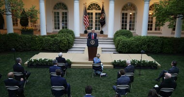 U.S. President Donald Trump speaks during the daily briefing of the White House Coronavirus Task Force in the Rose Garden at the White House April 14, 2020