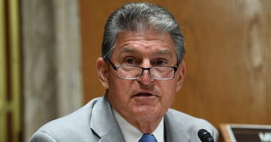 Sen. Joe Manchin (D-WV) questions Ajit Pai, Chairman of the Federal Communications Commission, during his testimony before an oversight hearing to examine the Federal Communications Commission spectrum auctions program for fiscal year 2021 on June 16, 202