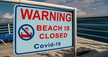 Sign signifying a closed beach due to COVID-19 concerns
