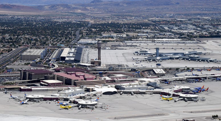 An aerial view shows McCarran International Airport amid the spread of the coronavirus on May 21, 2020 in Las Vegas, Nevada.