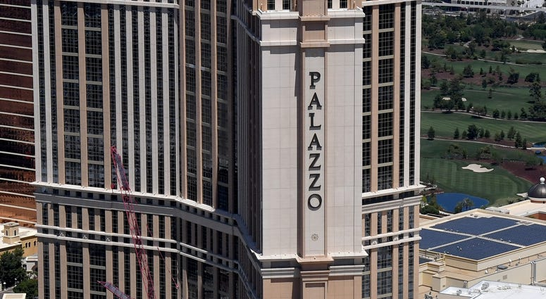 Aerial view of the Palazzo Tower on the Las Vegas Strip