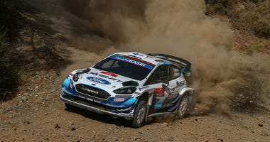 Teemu Suninen of Finland and Jarmo Lehtinen of Finland compete with their M-SPORT Ford WRT Ford Fiesta WRC during the Shakedown of the FIA World Rally Championship Turkey on September 18, 2020