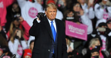 US President Donald Trump speaks during a campaign rally on October 27, 2020 in Omaha, Nebraska.