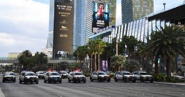 Las Vegas Metropolitan Police Department vehicles block Las Vegas Boulevard in both directions during a Black Lives Matter demonstration demanding justice for the death of George Floyd on May 29, 2020
