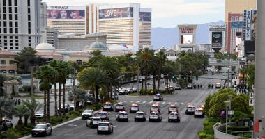 Las Vegas Metropolitan Police Department vehicles block Las Vegas Boulevard in both directions during a Black Lives Matter demonstration demanding justice for the death of George Floyd on May 29, 2020 in Las Vegas, Nevada.