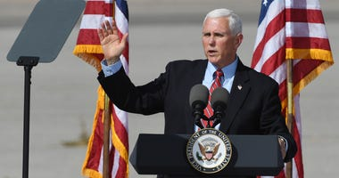 U.S. Vice President Mike Pence speaks at a rally at the Boulder City Airport on October 8, 2020 in Boulder City, Nevada.