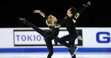 Emily Monaghan and Ilias Fourati of Hungary compete in the Ice Dance Free Skating program during the ISU Grand Prix of Figure Skating at the Orleans Arena on October 24, 2020 in Las Vegas, Nevada.