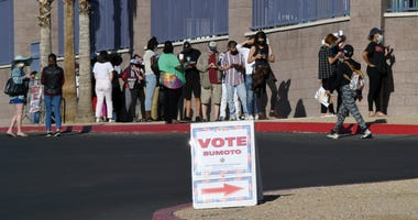People line up to vote at Desert Breeze Community Center on November 3, 2020 in Las Vegas, Nevada.