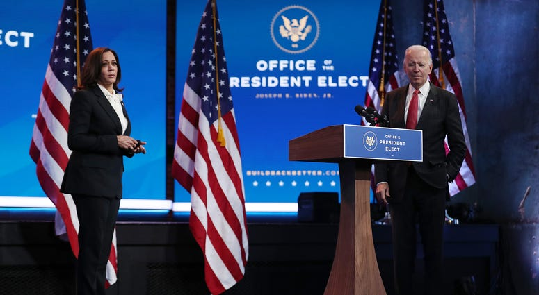 U.S. President-elect Joe Biden and Vice President-elect Kamala Harris hold a press conference after a virtual meeting with the National Governors Association's executive committee at the Queen Theater on November 19, 2020 in Wilmington, Delaware.