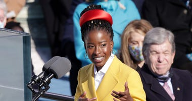 Youth Poet Laureate Amanda Gorman speaks during the inauguration of U.S. President Joe Biden on the West Front of the U.S. Capitol on January 20, 2021 in Washington, DC.