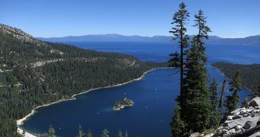 Emerald Bay lies under blue skies at Lake Tahoe on July 23, 2014 near South Lake Tahoe, California.
