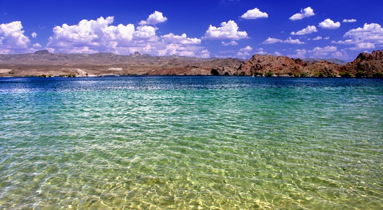 Lake Mohave beach on the Colorado River in the desert of the southwestern United States.