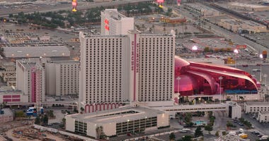 The Circus Circus hotel-casino is seen from the observation deck of the Stratosphere Casino Hotel November 29, 2005 in Las Vegas, Nevada.