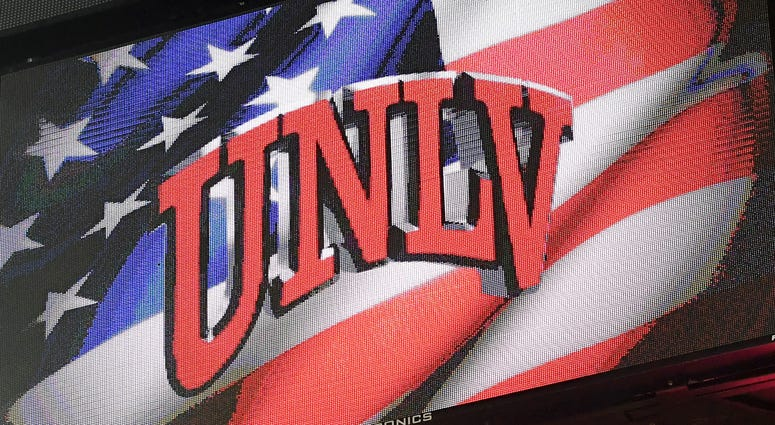 UNLV logo is displayed on a scoreboard during the team's game against the South Alabama Jaguars at the Thomas & Mack Center