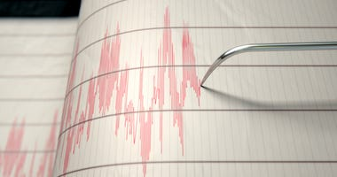 Earthquake seismograph measuring a temblor