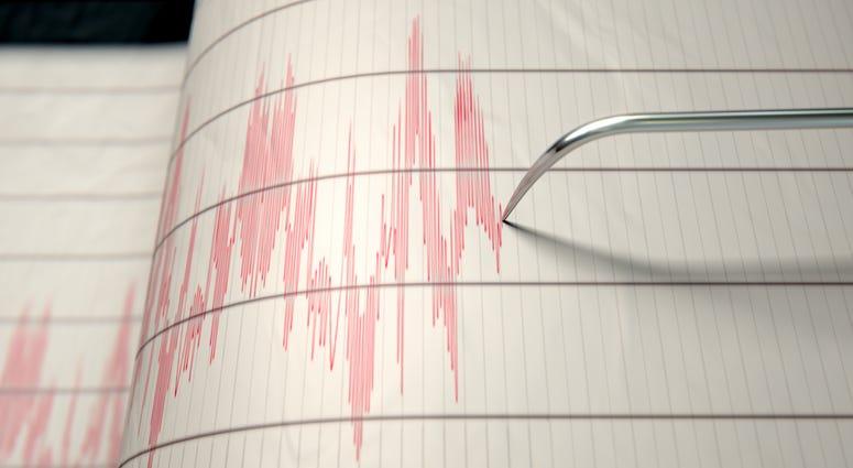 Earthquake seismograph measuring a temblor