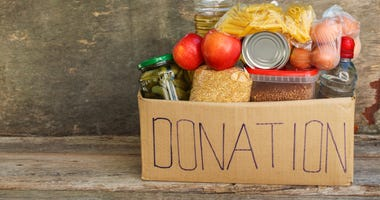 Box filled with food donations