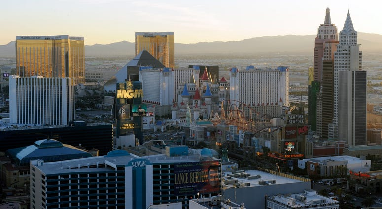 A general view of hotel-casinos on the south end of the Las Vegas Strip on November 20, 2009