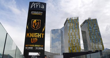 The marquee outside the Aria Resort & Casino displays an advertisement for Vegas Golden Knights retail stores the day after the team won the Western Conference Finals during the 2018 NHL Stanley Cup Playoffs on May 21, 2018 in Las Vegas