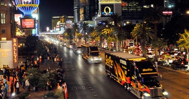 NASCAR car haulers parade down the Las Vegas Strip