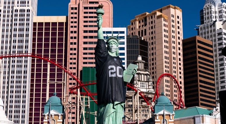 The Statue of Liberty decked out in a Las Vegas Raiders jersey on 9-10-20
