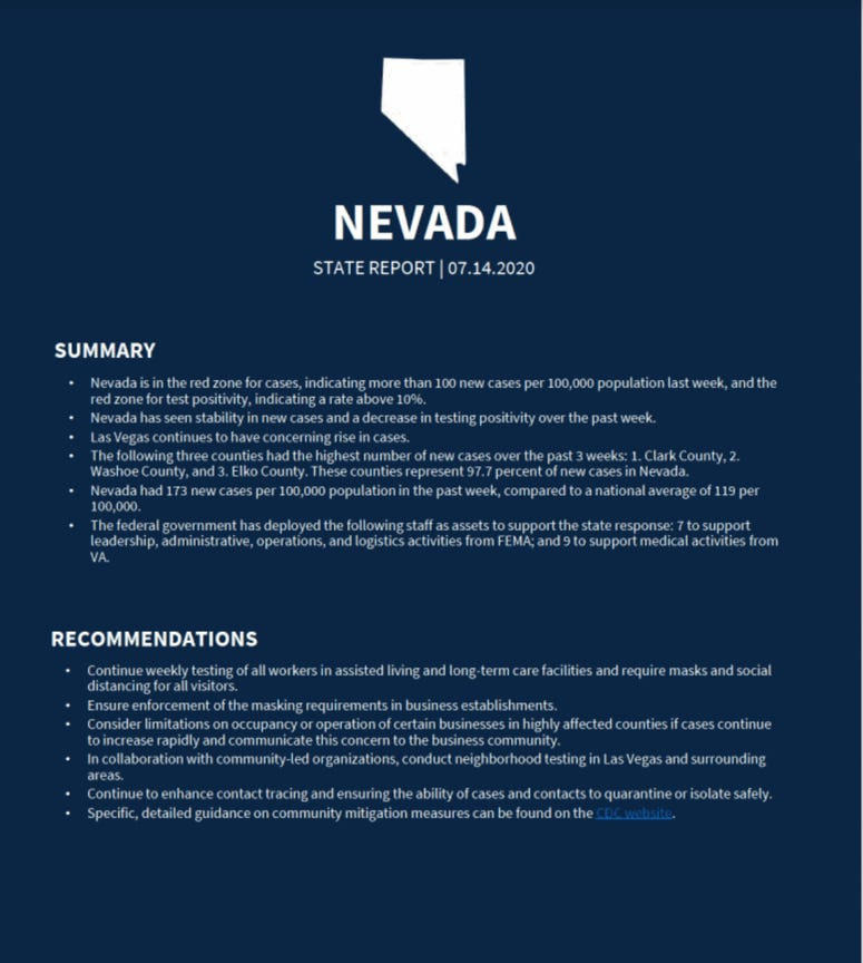 Information from White House regarding recommendations for Nevada regarding the coronavirus outbreak