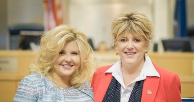 City Councilwoman and Mayor Pro Team Michele Fiore (L) with Las Vegas Mayor Carolyn Goodman