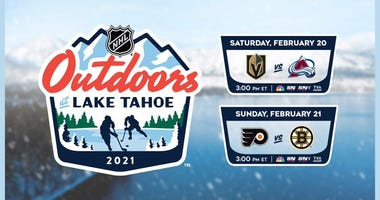 Advertisement for 2021 NHL Outdoor games in Lake Tahoe