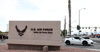 The entrance to Nellis Air Force Base