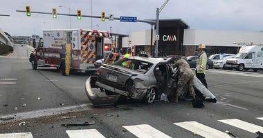 Scene of a crash involving Nevada National Guard on 1-18-21
