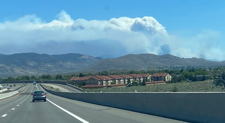 The Numbers Fire burning southeast of Reno